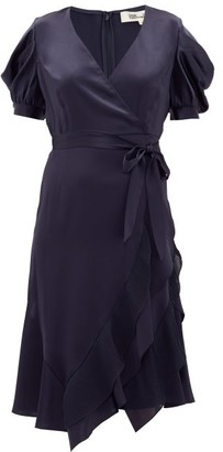 Diane von Furstenberg Ansley Waist-tie Satin Wrap Dress - Womens - Navy