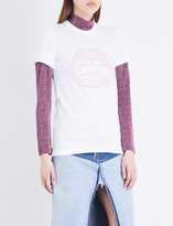 Markus Lupfer Kate sequinned lips cotton-jersey T-shirt