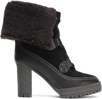 See by Chloe Verena Shearling-lined Suede And Leather Platform Ankle Boots
