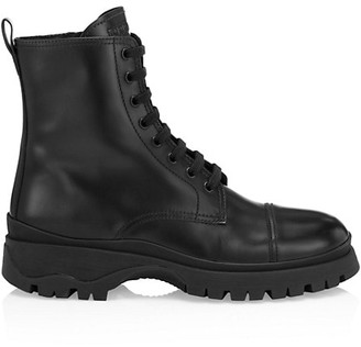 Prada Lug-Sole Leather Combat Boots