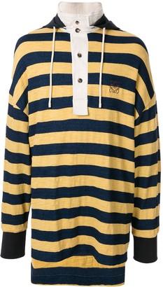 Loewe Long Striped Hooded Polo Shirt
