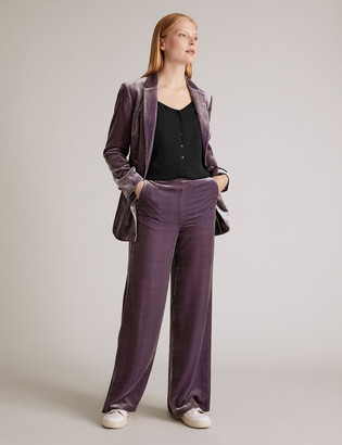 Marks and Spencer Velvet Wide Leg Trousers with Silk