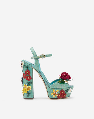 Dolce & Gabbana Wedge Sandals In Tropea Straw With Embroidery