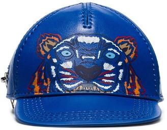 Kenzo Blue Tiger Motif Leather Cap Wallet