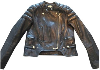 Carven Navy Leather Jackets