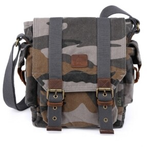 TSD BRAND Camo Canvas Crossbody Bag