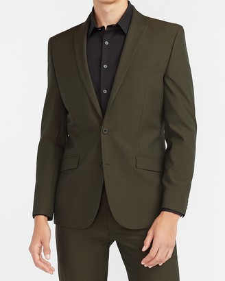 Express Extra Slim Olive Houndstooth Tech Suit Jacket