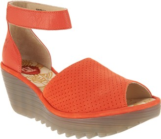Fly London Perforated Leather Wedge Sandals - Yake