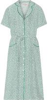 HVN - Maria Belted Printed Silk-satin Dress - Green