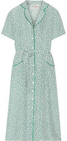 HVN - Maria Belted Printed Silk-satin Dress - White