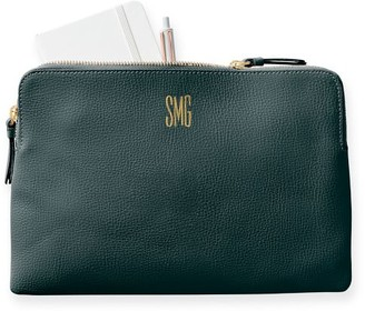 Mark And Graham Everyday Italian Leather Zipper Pouch, Foil Debossed