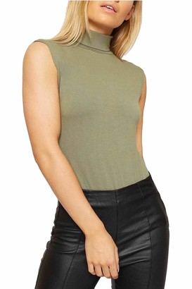 Candid Styles Womens High Roll Polo Turtle Neck Top Sleeveless Ladies Basics Stretch Summer Shirt Vest 8-26