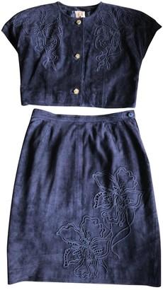 Loewe Navy Suede Jumpsuit for Women Vintage