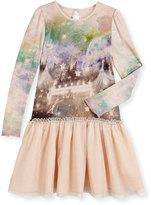 Stella McCartney Primrose Long-Sleeve Circus-Print Combo Dress, Pink, Size 4-14