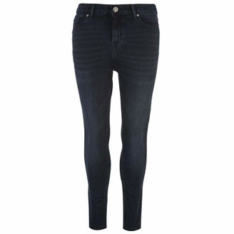 Firetrap Womens High Waisted Jeans Button Fastening Waist (Dark Wash 12 L)