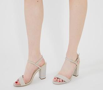 Office Hollie Block Heel Sandals Grey With Silver Hardware