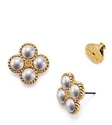 Tory Burch Rope Clover Pearl Stud Earring
