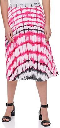 Calvin Klein Print Pleated Pull-On Skirt (White/Hibiscus) Women's Skirt