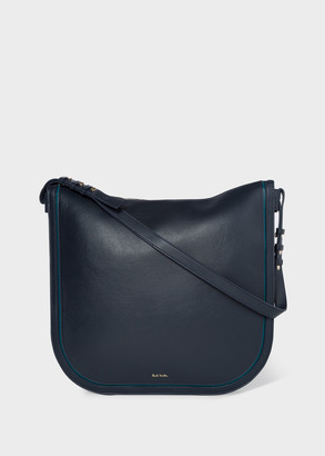Women's Navy 'Concertina' Leather Hobo Bag