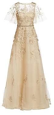 7326d1969dd0 Teri Jon by Rickie Freeman Women's Illusion Floral Overlay Ball Gown