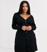 Asos DESIGN Curve long sleeve button through rib tea dress with large buttons in black