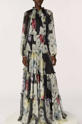 Jason Wu Collection Printed Crinkle Chiffon Dress