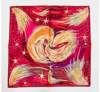 One Kings Lane Vintage Hermes Feux Du Ciel Silk Pouchette - Vintage Lux - pink, red, yellow