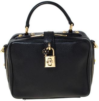 Dolce & Gabbana Black Leather Rosaria Box Top Handle Bag