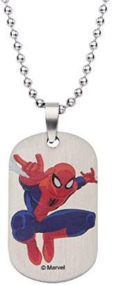 Spiderman Marvel Comics Boys' Stainless Steel Dog Tag Chain Pendant Necklace
