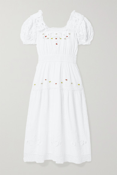 LoveShackFancy Ayden Crochet-trimmed Embroidered Cotton-blend Midi Dress - White