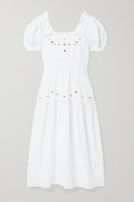 LoveShackFancy Ayden Crochet-trimmed Embroidered Cotton-blend Midi Dress - White