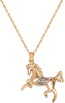 Sweet & Soft 18K Gold Plated Gold & Silver Horse Pendant Necklace