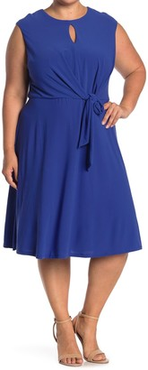 London Times Keyhole Tie Waist Fit & Flare Midi Dress