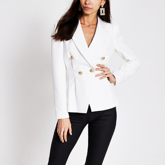 River Island White double breasted pleated waist blazer