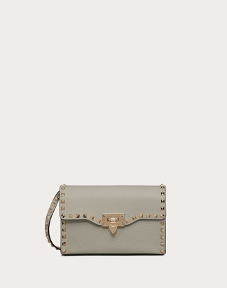 Valentino Small Rockstud Grainy Calfskin Crossbody Bag Women Opal Grey 100% Pelle Di Vitello - Bos Taurus OneSize