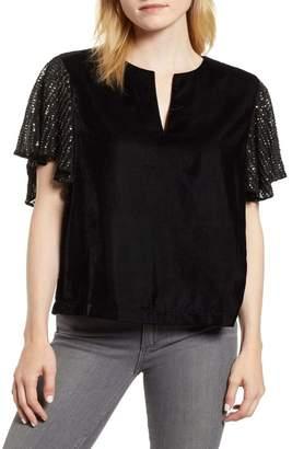 Velvet by Graham & Spencer Tibby Velvet Sequin Sleeve Top