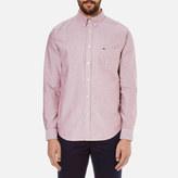 Lacoste Men's Oxford Button Down Pocket Shirt Wine/White