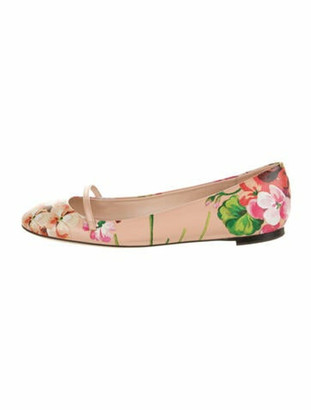 Gucci Blooms Print Leather Ballet Flats Pink