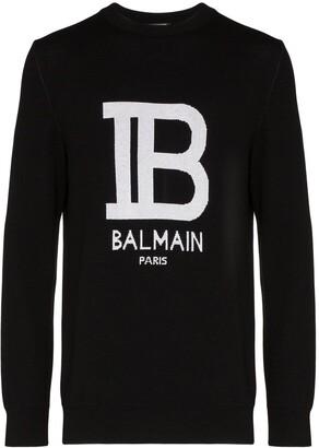 Balmain Intarsia Knit Logo Jumper