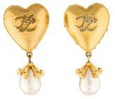 Karl Lagerfeld Crystal Heart & Pearl Earrings