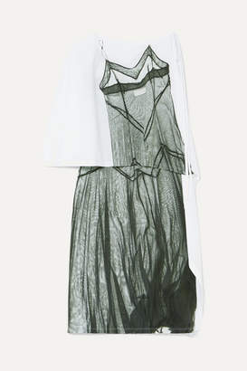 MM6 MAISON MARGIELA One-shoulder Printed Satin-jersey Dress - White