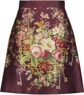 Dolce & Gabbana Printed silk and wool-blend satin mini skirt