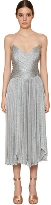 Maria Lucia Hohan Pleated Metallic Mesh Midi Dress