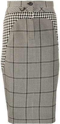 Marine Serre Button Check-Print Pencil Skirt