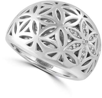 Effy Sterling Silver Open Work Diamond Pave Ring - 0.04 ctw - Size 7