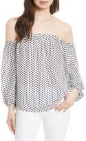 Milly Women's Jillian Dot Print Silk Off The Shoulder Top