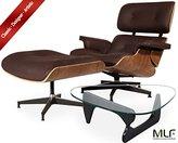 MLF Eames Lounge Chair & Ottoman + Isamu Noguchi Table (Chair: Dark Brown Italian Leather + Walnut, Table: Black Birch Wood)(105 Combinations)