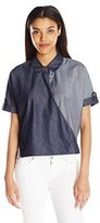 7 For All Mankind Women's Draped Crossfront Shirt