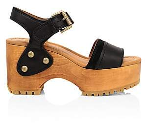 See by Chloe Women's Ankle-Strap Suede & Leather Platform Clogs