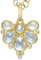 Temple St. Clair 18K Yellow Gold Wing Pendant with Royal Blue Moonstone and Diamonds